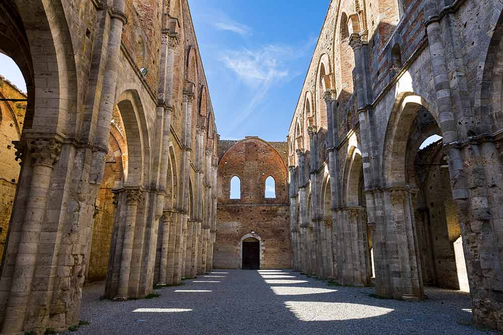 Interior image of the Abbey of San Galgano found in Tuscany Italy