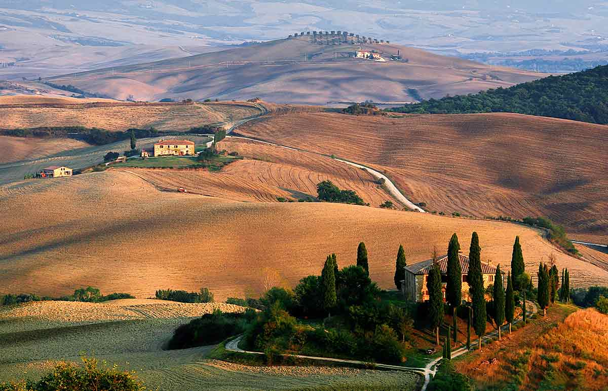 Tuscany rolling hill view. Tuscan countryside view from above